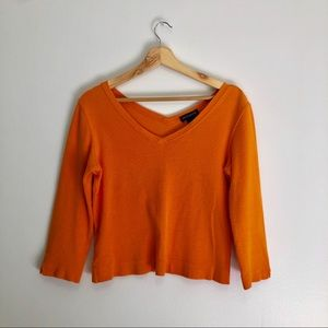 Ann Taylor Orange three quarter length sleeve top